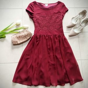 Dresses & Skirts - 👗 Red Cap Sleeve Lace Chiffon Fit & Flare Dress